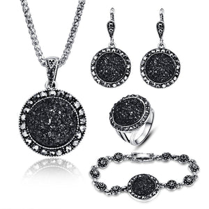 Black Broken Stone Wedding Jewelry Sets Necklace Earrings Ring Bracelet