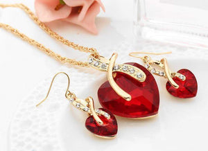 Best Selling Crystal Heart Bridal Jewelry Set
