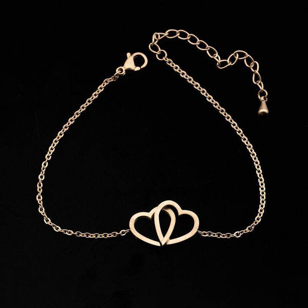 2018 Double Heart Stainless Steel Bridal / Bridesmaid Charm Bracelet