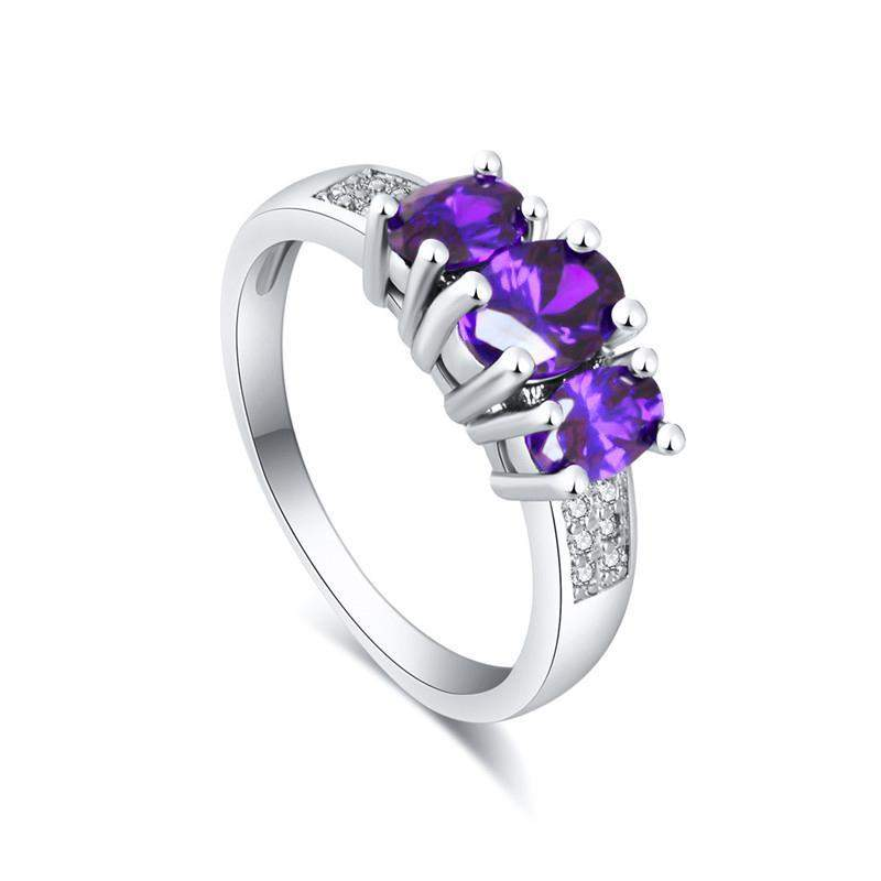 Best Selling Three Precious Stones Wedding Ring