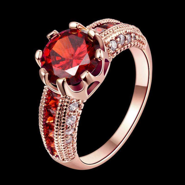 2018 Luxury Round Cut Crystal Classic Engagement Ring