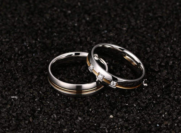 Three Cubic Stone Classic Wedding Ring Band For Men And Women