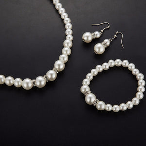 Simulated Pearl Wedding Jewelry Set Crystal Necklace Fine Jewelry Party Women Beads Bridal Earrings Accessories