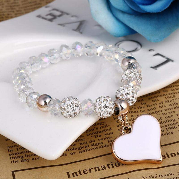 Best Selling Handmade Crystal  Beads Heart Bracelet