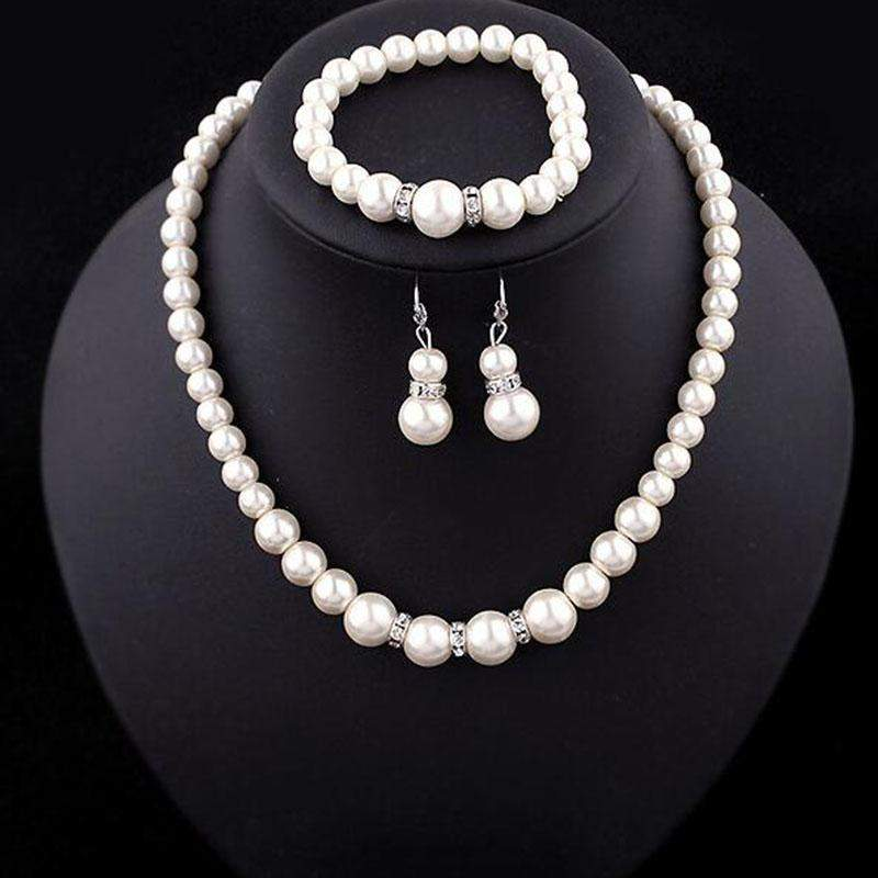 Pearl Necklace Bracelet Earrings Women Jewelry Sets
