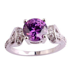 2018 Four Claws Round Stoned Crystal Wedding Ring
