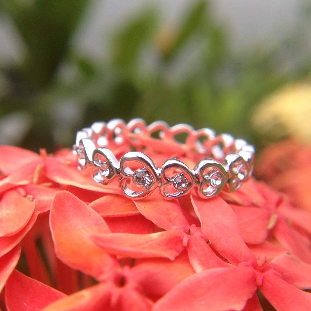 Best Selling Full Heart Crystals Infinity Ring