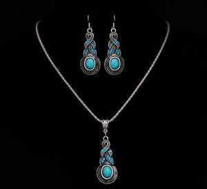 Ethnic Blue Stone Jewelry Sets Tibetan Silver Necklace Earrings For Women