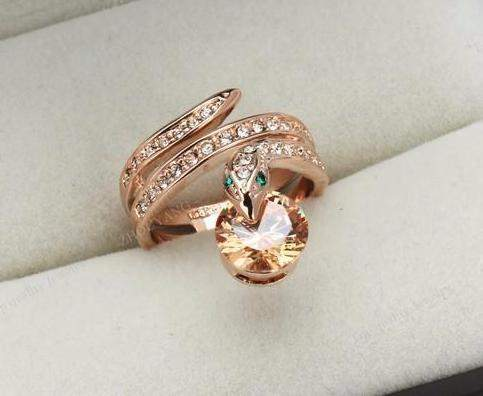 Hot Selling Crystal-Studded Snake Bead Statement Ring