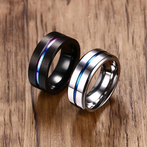 Titanium Ring For Men Women Wedding Bands Trendy Rainbow Groove Rings