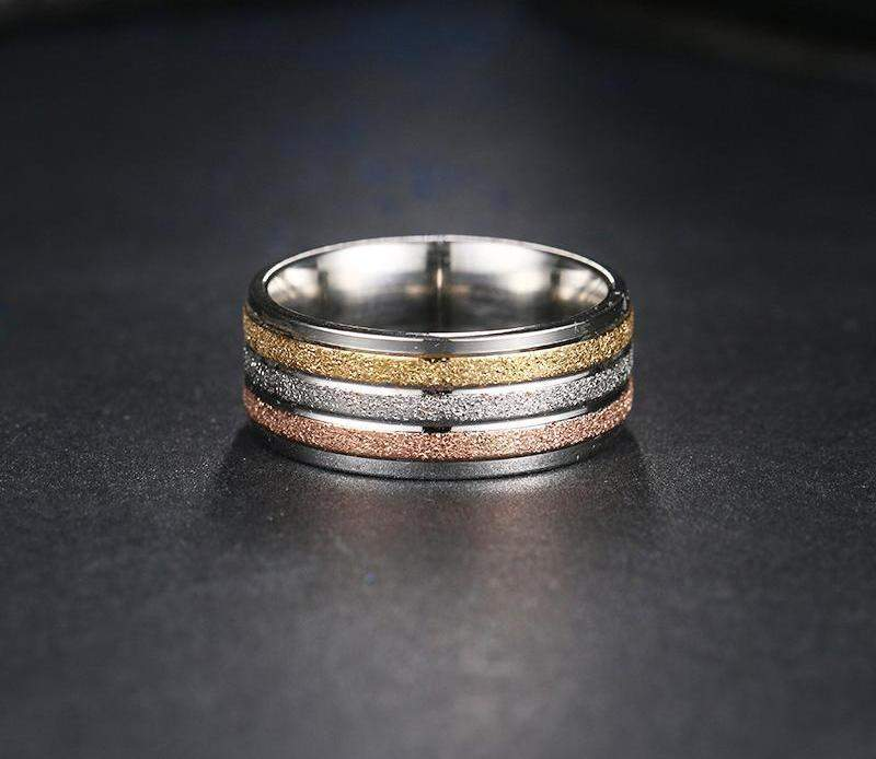 2018 Most Wanted Frosted Three Color Lines Wedding Ring Band