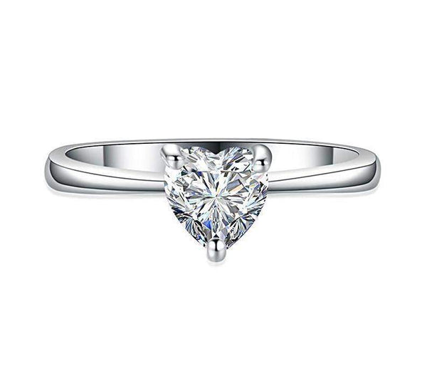 Top Rated AAA+ Zircon Heart White Gold Filled Engagement Ring