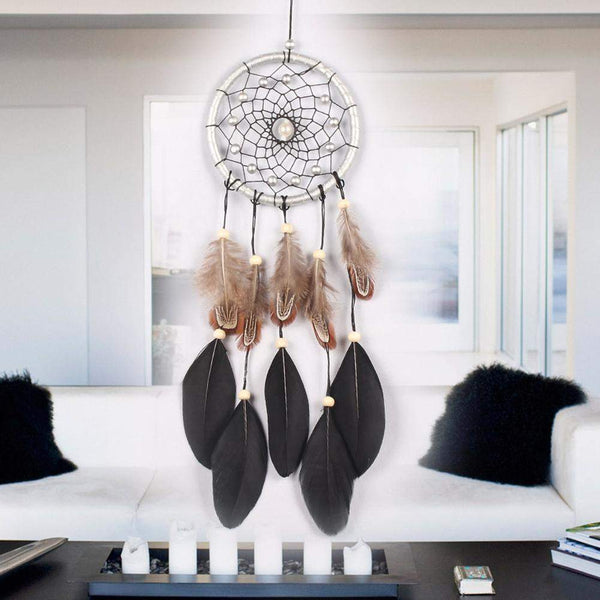 Most Sold! Handcrafted Black Feather Lace Dream Catcher Wind Chimes