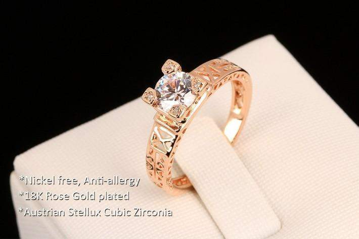 Eiffel Tower Cubic Crystals Love Ring