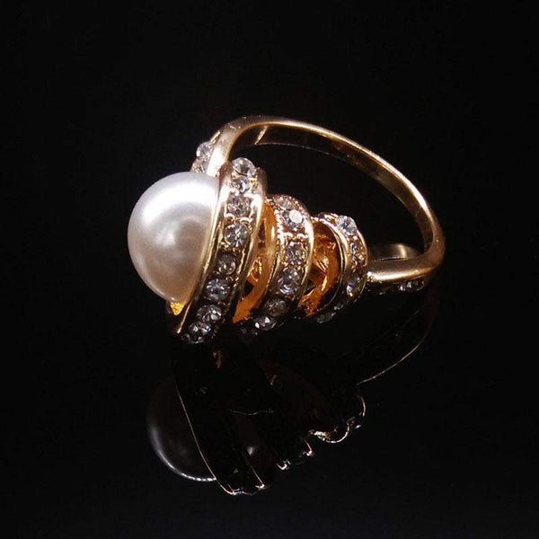 2018 Spiral Crystals Pearl Bridal Ring