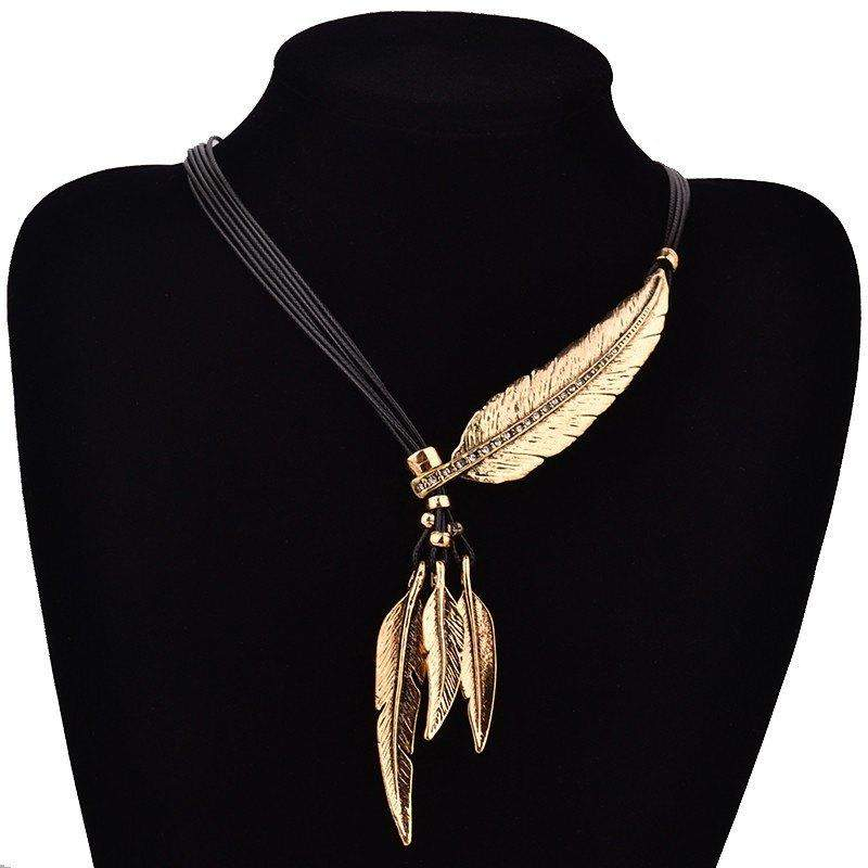 Free Jewelry -  Black Feather Pattern Necklace  - Clever Clad