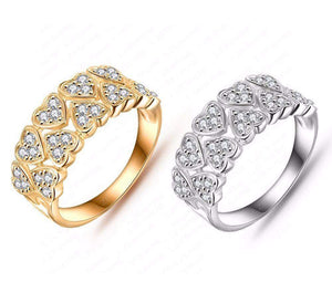 Best Selling Glamorous AAA+ Cubic Zirconia Hearts Wedding Ring