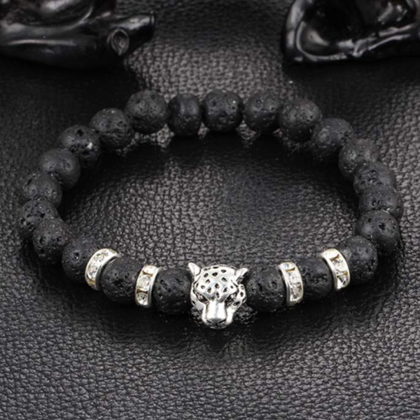 Buddha Leopard Head Natural Stones Beaded Bracelets