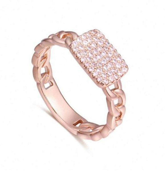2018 Micro AAA+ Zirconia Chain Wedding Ring Band