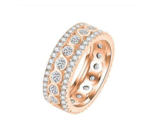 Round Crystals Twisted Rope Eternity Ring