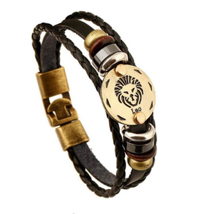2018 Classy Zodiac Sign Leather Bracelet For Men And Women