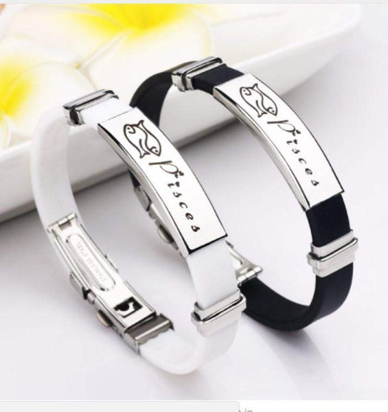 2018 Zodiac Signs Stainless Steel Rubber Bracelets for Men and Women