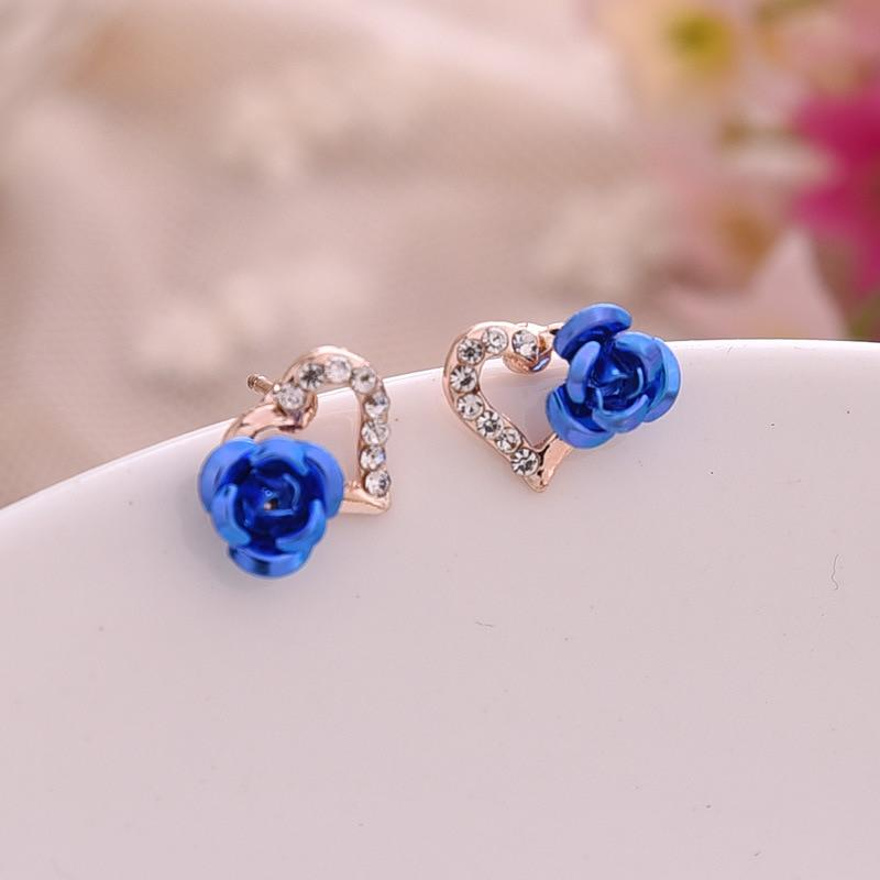 Heart Shaped Rose Flower Stud Earrings