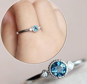 2018 Simple Blue Zircon Thin Engagement Ring