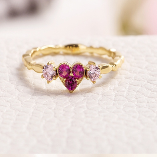 Classy Pink Love Heart Thin Engagement Ring