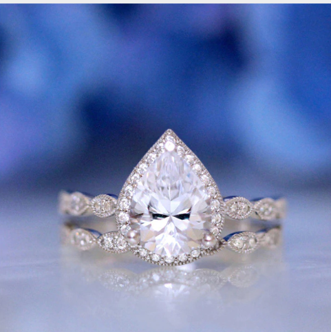 HOT SALE! Classy Water Drop Zirconia Bridal/Engagement Ring