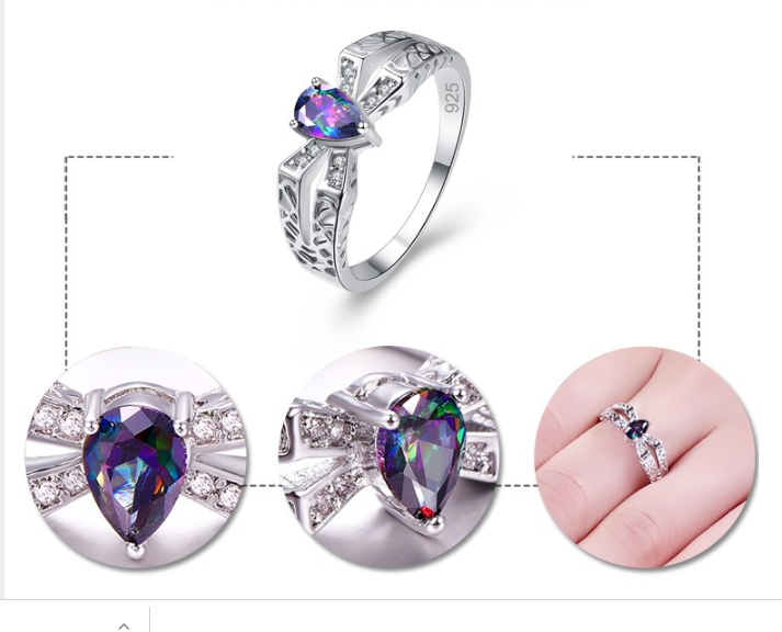 BEST SELLING! Elegant Multi-Color Water Drop Crystal Engagement Ring