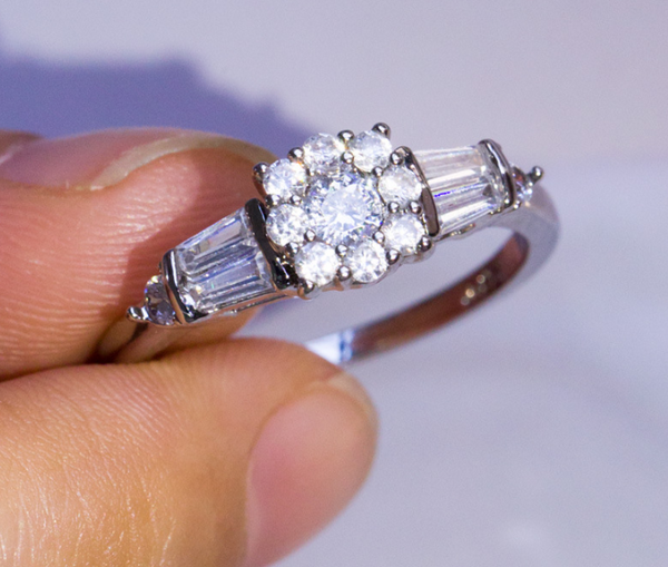 Hot Flower AAAA+ Zircon Engagement Ring Band