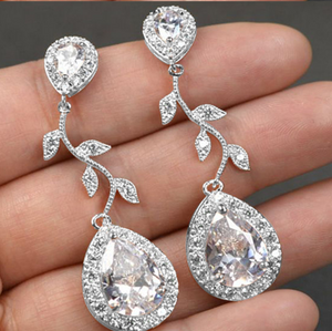 NEW RELEASE! Trendy Water Drop Zirconia Bridal Earrings