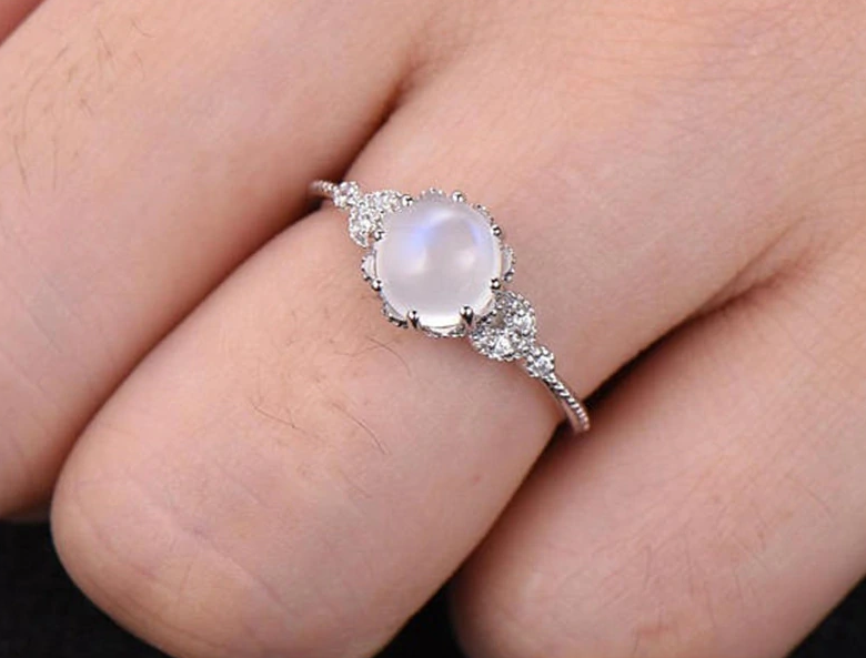 NEW RELEASE! Elegant Moonstone Good Fortune Engagement Ring