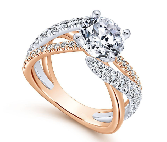 2018 Classy Four Claws Zirconia Twisted Engagement Ring