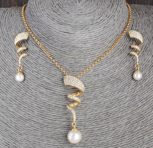 2018 Twisted Vintage Pearl Bridal Jewelry Set