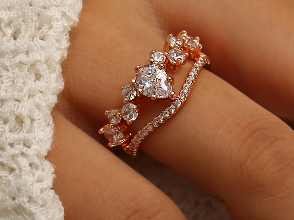 2018 Stylish AAA+ Cubic Zirconia Double Engagement Ring
