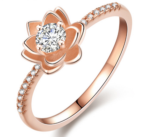 2021 Luxury Vintage Rose Crystal Engagement Ring