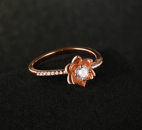 2018 Luxury Vintage Rose Crystal Engagement Ring