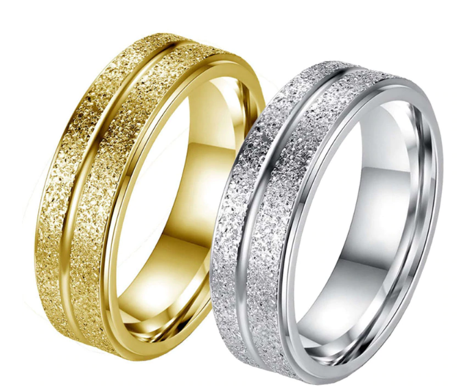 Top Rated Frosted Classic Couple Wedding Ring Band