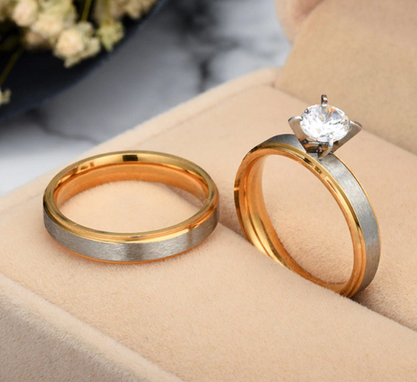 Best Selling Silver And Gold Couple Promise Ring