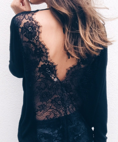 2018 Fashionable Long Sleeve Lace Loose Top