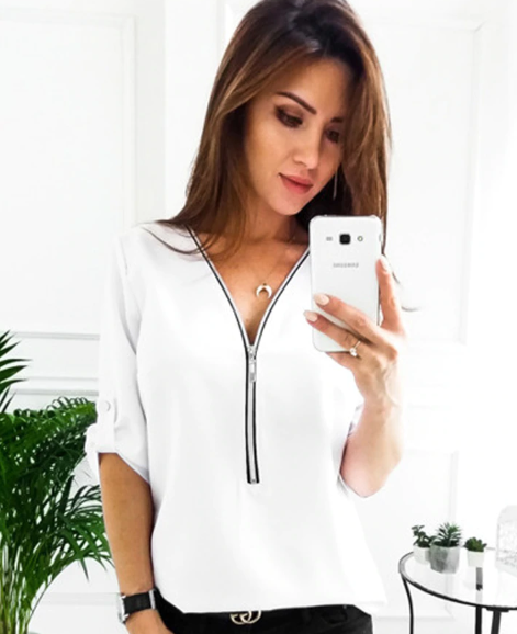 2018 Elegant Summer Loose Long Sleeve Zipper Top