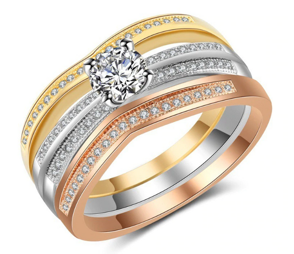 Elegant Three-layer Cubic Zircon Wedding Ring
