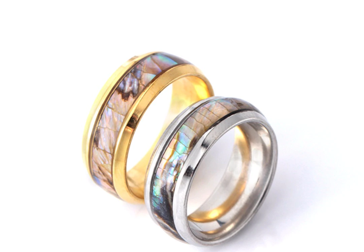 Colorful Shell Stainless Steel Ring For Men And Women