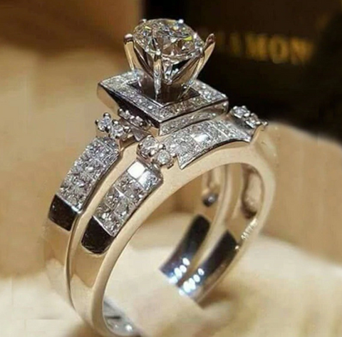 2 Pieces Set Elegant Shiny Zircon Bridal Ring