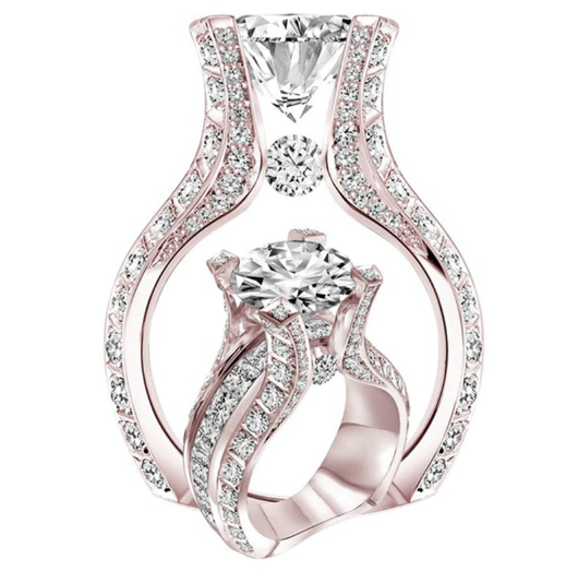 Fashionable Full Cubic Zirconia Wedding Ring Band