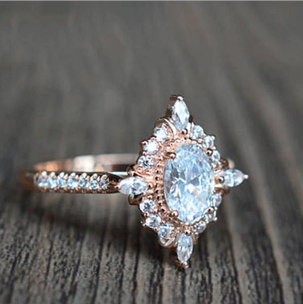 Classic Mirror Zircon Engagement Ring Band
