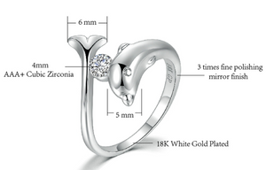 Top Rated Dolphin Cubic Zircon Engagement Ring