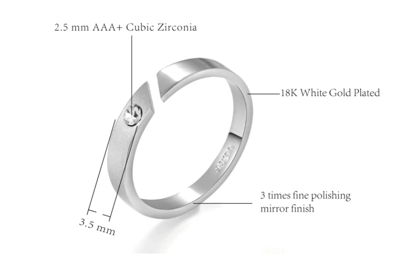 New Release! Simple Austrian Crystal Engagement Ring